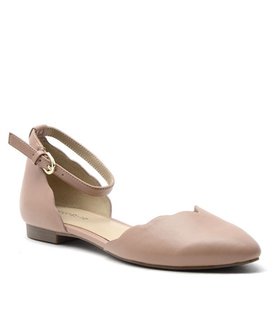 Beige Faux Leather Gallie Flat.