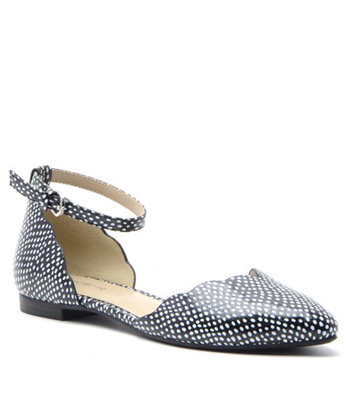 Black/White Faux Leather Dots Gallie Flat,