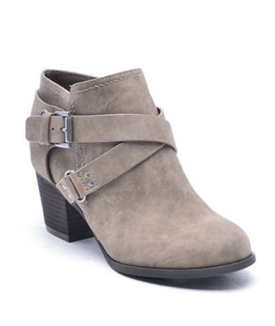 Brown Sablena Heeled Cross Buckle Bootie.