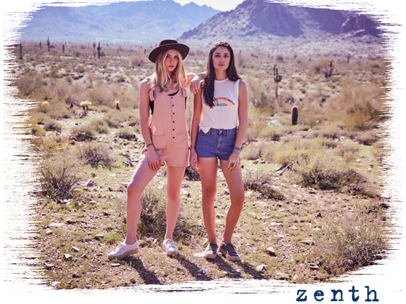 Two girls in desert scene wearing zenth sneakers.