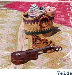 Pair of Velde on a blanket with beach bag and small guitar.
